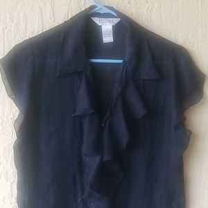 Black ruffle short slv blouse Sz M
